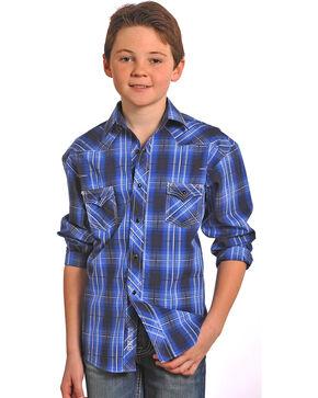 Rock & Roll Cowboy Boys' Long Sleeve Plaid Snap Shirt , Navy, hi-res
