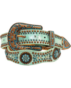 Nocona Women's Scallop Round Concho Studded Belt, , hi-res