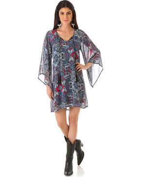 Wrangler Rock 47 Women's Angel Sleeve Tassel Tie Dress, Multi, hi-res