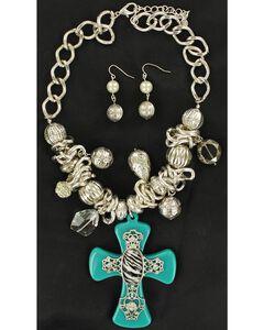Blazin Roxx Turquoise & Zebra Cross Necklace & Earrings Set, , hi-res