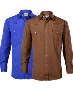Ely Cattleman Men's Assorted Tone-on-Tone Solid Long Sleeve Shirt, Multi, hi-res