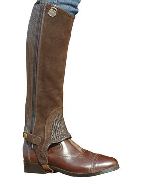 Ovation Kids' Suede Stitched Rib Half Chaps, Brown, hi-res