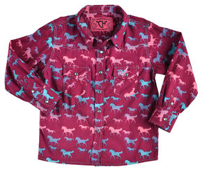 Cowgirl Hardware Pink and Purple Pony Plaid Western Snap Shirt , Purple, hi-res