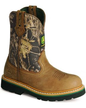 John Deere Boys' Camo Johnny Popper Boots, Crazyhorse, hi-res
