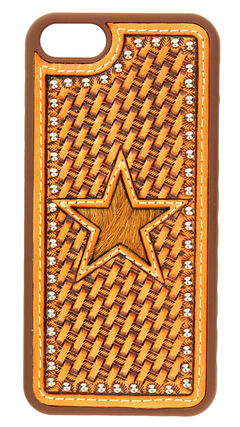 Nocona Basketweave & Hair-On-Hide Star Cutout Leather iPhone 5 Phone Case, , hi-res