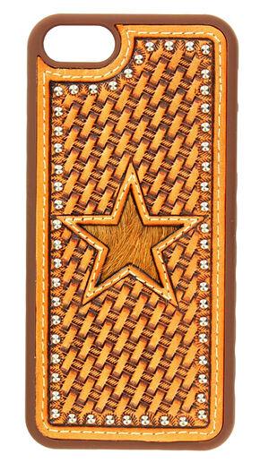 Nocona Basketweave & Hair-On-Hide Star Cutout Leather iPhone 5 Phone Case, Saddle Tan, hi-res