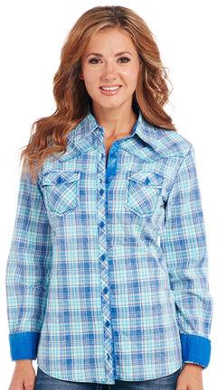 Cowgirl Up Blue Plaid Long Sleeve Shirt, , hi-res