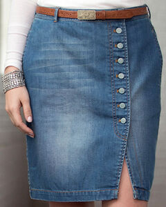 Ryan Michael Women's Button-Front Denim Skirt, Indigo, hi-res