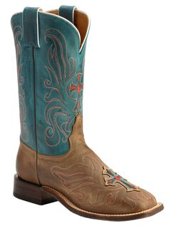 Tony Lama San Saba Vintage Turquoise Cross Applique Cowgirl Boots - Square Toe, , hi-res