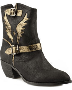 Roper Benatar Metallic Eagle Ankle Short Cowgirl Boots - Pointed Toe, , hi-res