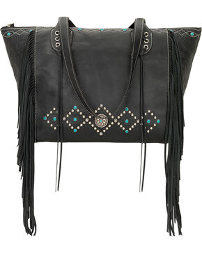 American West Black Canyon Creek Canyon Large Zip Top Tote , Black, hi-res