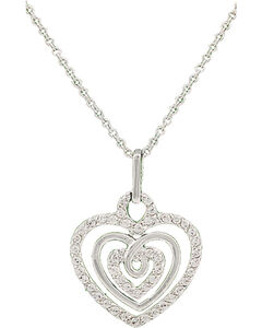 Montana Silversmiths Triple the Love Heart Necklace, , hi-res
