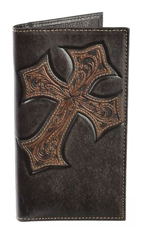 Nocona Tooled Cross Overlay Rodeo Wallet, Brown, hi-res