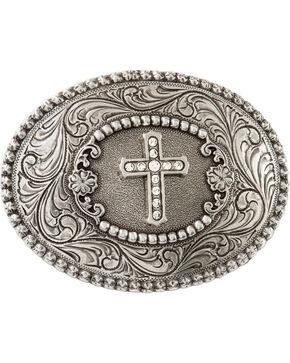 Nocona Rhinestone Cross Belt Buckle, Silver, hi-res