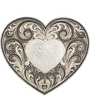 Montana Silversmiths Antiqued Heart Whispers Buckle, Antique Silver, hi-res