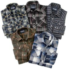 Wrangler Boys' Assorted Western Flannel Shirts, Multi, hi-res