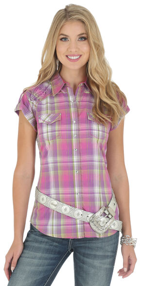 Wrangler Rock 47 Women's Short Sleeve Tab Plaid Shirt, Purple Pld, hi-res