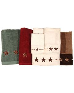 Three-Piece Embroidered Star Bath Towel Set - Red, Red, hi-res