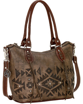 American West Mystic Shadow Convertible Zip Top Bucket Tote, Dark Brown, hi-res