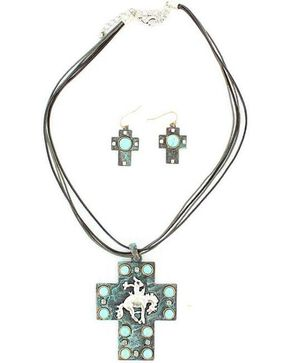 Blazin Roxx Bucking Horse Cross Necklace & Earrings Set, Turquoise, hi-res