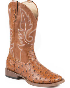 Roper Faux Ostrich Leather Cowgirl Boots - Square Toe, , hi-res