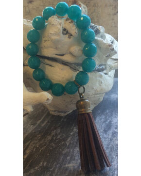 2 Queen B's Ocean Jade Stretch Bracelet with Tassel, Aqua, hi-res
