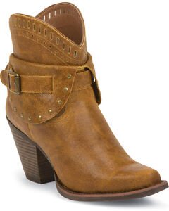 Justin Silver Women's Leather Studded Buckle Short Boots - Snip Toe, , hi-res