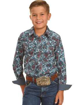 Cody James Boys' Patriot Paisley Print Long Sleeve Shirt, Blue, hi-res