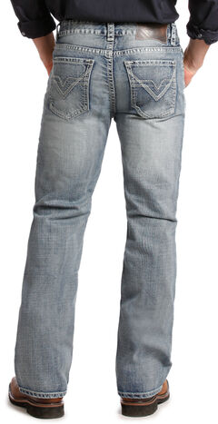 """Rock and Roll Cowboy Double Barrel """"V"""" Relaxed Fit Jeans - Straight Leg , , hi-res"""
