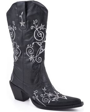 Roper Star Embroidered Cowgirl Boots - Pointed Toe, Black, hi-res