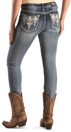 Grace in LA Medium Wash Aztec Mid-Rise Jeans , Denim, hi-res