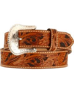 Tony Lama Floral Tooled Leather Belt - Reg & Big, , hi-res