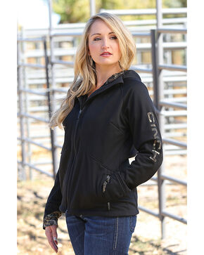 Cinch Women's Black Softshell Bonded Sherpa Jacket , Black, hi-res