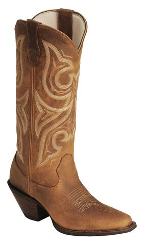 Durango Jealousy Crush Cowgirl Boots - Rounded Toe, Cognac, hi-res