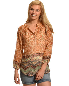 Katie's Kloset Women's 3/4 Sleeve Print Top, Orange, hi-res