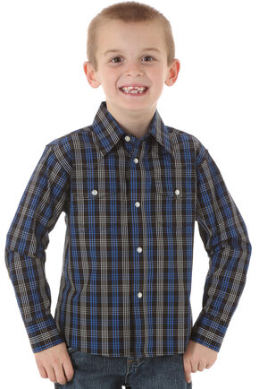 Wrangler Boys' Wrinkle Resist Black & Blue Plaid Shirt, Navy, hi-res