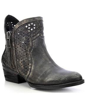 Circle G Cut-Out Short Boots - Round Toe, Black, hi-res
