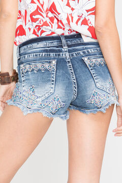 Grace in LA Women's Fiona Scallop Trim Denim Shorts, , hi-res