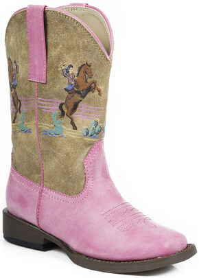 Roper Girls' Pink Vintage Western Rider Cowgirl Boots - Square Toe , Pink, hi-res