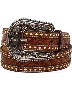 Blazin Roxx Women's Tooled Buck Stitching Rope Belt , , hi-res