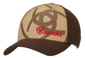 Ariat Flex Fit Shadow Logo Cap, Tan, hi-res