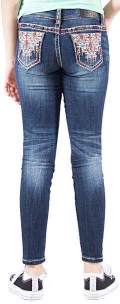 Grace in LA Girls' Embellished Contrast Skinny Jeans , , hi-res