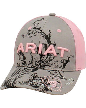 Ariat Women's Grey and Pink Scroll Ballcap, Grey, hi-res