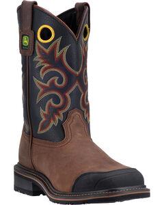 John Deere Men's Pull-On Western Work Boots - Square Toe , , hi-res
