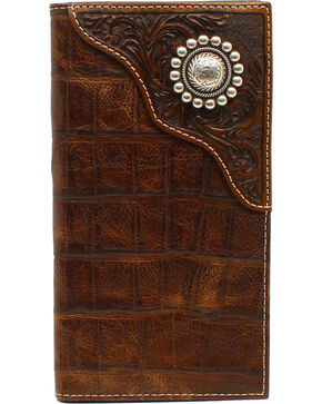 Ariat Men's Rodeo Floral Embossed Concho Wallet, Brown, hi-res