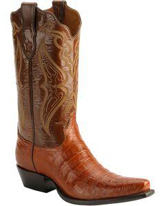 Tony Lama Signature Series Embroidered Caiman Belly Cowboy Boots - Snip Toe, , hi-res