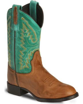 Old West Youth Barnwood Ultra Flex Cowboy Boot, Brown, hi-res