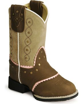 Smoky Mountain Children Girls' Cowgirl Boots - Round Toe , Brown, hi-res