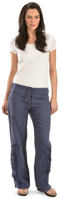 Johnny Was Women's Blue Linen Crochet Pants, , hi-res