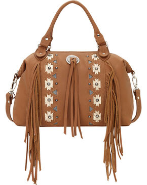 American West Golden Tan Chenoa Large Convertible Zip-Top Satchel , Tan, hi-res